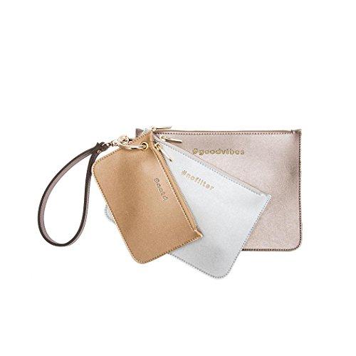 Melie Bianco Messenger (Melie Bianco Lexi Set of 3 Hashtag Wristlet Pouches, Rose Gold Multi)