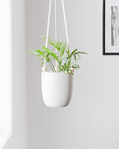 Ivy Pot Planter - Mkono Ceramic Hanging Planter Macrame Plant Holder Succulent Flower Pot with Wood Beads