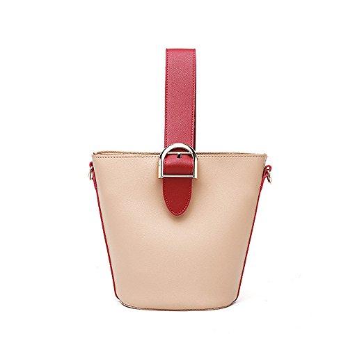 Hand Lining FangYOU1314 PU Bucket Diagonal Color mother Shoulder Leisure Son Beige Beige Bag Without nn4rXx
