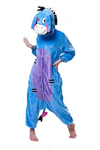 Unisex Winnie the Pooh Piglet Tigger Eeyore donkey Onesie Fancy Dress Costume Hoody Pyjama Sleep wear Carnival Costume Christmas Gift (Eeyore Donkey, XL(height 180cm-190cm))