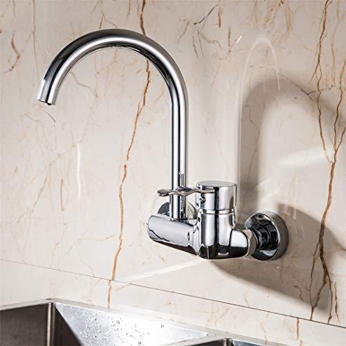 (HEFGEW - Wall Mounted Double Holes Kitchen Faucet Single H le Chrome Kitchen Mixer Taps Dual Holes Faucet)