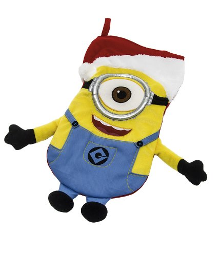 Despicable Me Stuart the Minion with Santa Hat Plush Christmas Stocking