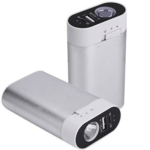 Ewarmer Hand Warmers/Power Bank 5200mAh, Rechargeable Hand Warmer, 5200mah Portable USB Hand Warmer/Power Bank 5200, Portable Battery Charger with LED Flashlight for Cold Winter (Silver)
