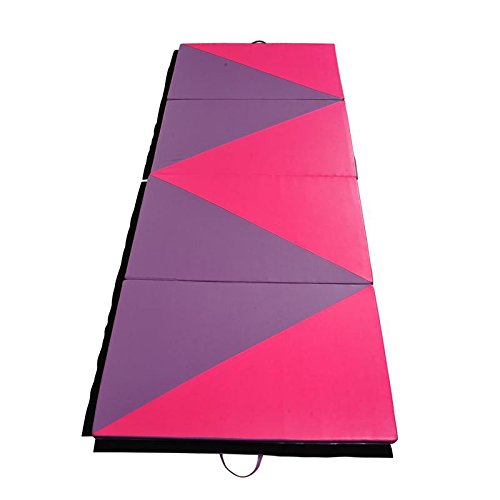 Gymnastics Mat 4' x 10' x 2' Martial Arts Aerobics Exercise Yoga Tumbling Pad - Pink / Purple With Ebook by MRT SUPPLY