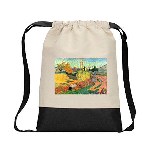 Von Arles (Gauguin) Canvas Backpack Color Drawstring Bag - Black (Arles Canvas)