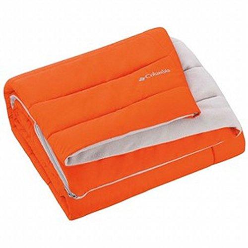 """(Columbia Sportswear Indoor-Outdoor Warm & Cozy Soft Fleece Throw Blanket – Zippered Pocket – Water Repellent Fabric & Carry Storage Bag – 50"""" x 60"""" - Orange-Gray)"""