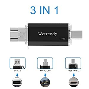 USB C Drive 16GB Phone USB Drive, 100% Real Capacity 3 IN 1 (Type-C/Micro USB/USB 2.0) OTG Flash Drive Waterproof Data Storage Thumb Drive for Macbook,Android Mobile Phones Tablets Samsung 16G Black