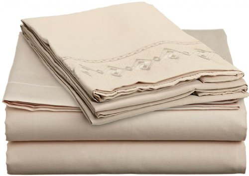 Full, Cream Beige, 1600-Embroidered Chain Design, Bed Sheet Set by Lamma Loe - Available in Many Sizes and Colors