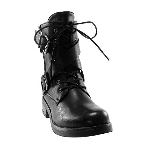Schleife Boots Schuhe 5 Riemen cm Biker Damen Blockabsatz Stiefeletten Combat Reißverschluss Stiefel 3 Schwarz Angkorly Gekreuzte Oqz5wXw