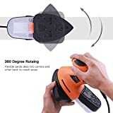 Mouse Detail Sander, Tacklife 200W, 12000OPM Detail Sander with 360° Rotatable Sanding Pad, Sturdy Dust Collection Container with Buckle Design - PMS02A
