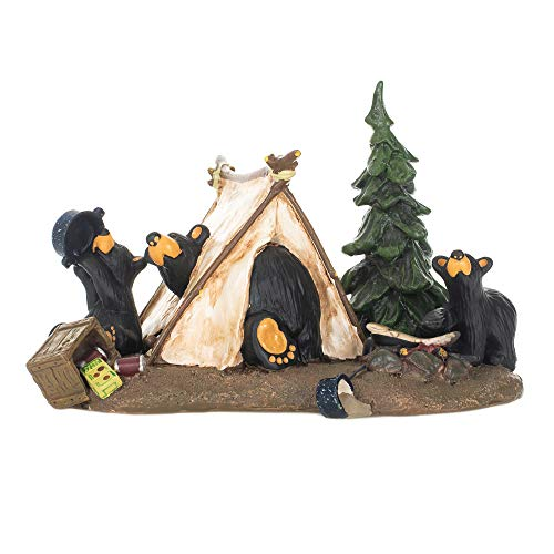 DEMDACO Camp Runamuck Bear Black Bear 5 x 7.5 Hand-cast Resin Figurine Sculpture
