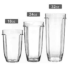 18oz. + 24oz. + 32oz. 3 Sizes Replacement Cup Mug Part for Nutri Ninja 900w 1000w 1500w Auto-iQ Blender Juicer Mixer