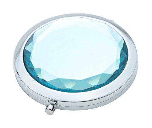 niceeshop(TM) Stainless Travel Compact Pocket Crystal Folding Makeup Mirror ,Ocean Blue