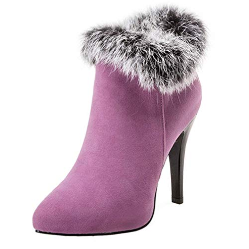 Vitalo Womens High Heel Fluffy Ankle Boots Zip Pointed Toe Autumn Winter Shoes Purple