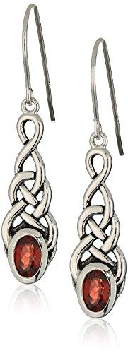 - Sterling Silver Genuine Garnet Celtic Knot Linear Drop Earrings