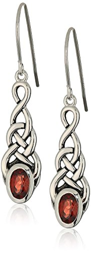 Sterling Silver Genuine Garnet Celtic Knot Linear Drop Earrings Celtic Knot Drop Earrings