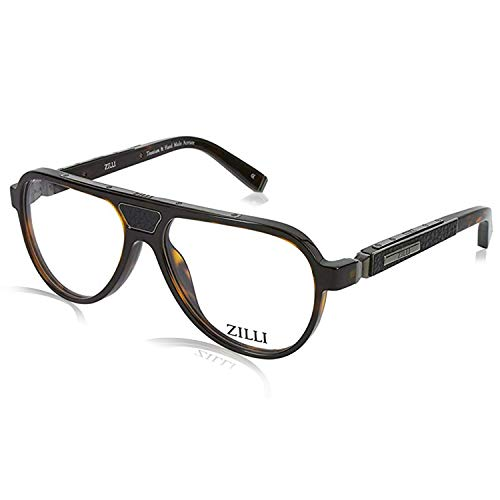 ZILLI Designer Luxurious Fashion Eyewear Eyeglasses for Men Pilot - Made with Crocodile Leather and Titanium, Gold- Full Rim Optical Frame 60000 58-15-140 - HAND MADE, Brown Tortoise, Ruthenium, (C02)
