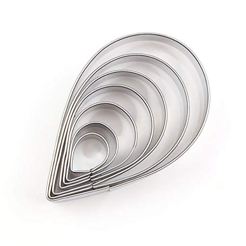 CookieMaster Stainless Steel Cookie Cutters Set for Fondant Candy Pastry Design and Cake Decoration (7, Raindrop Shape)