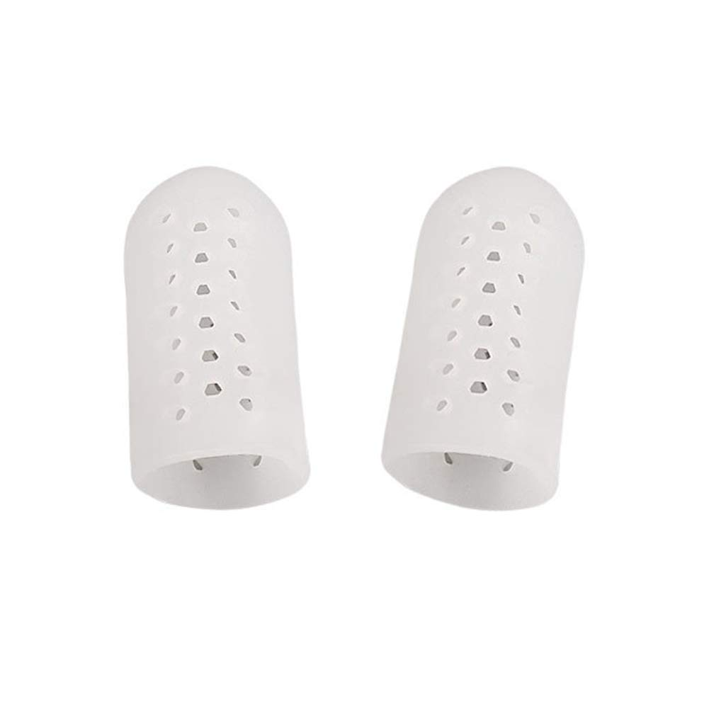 ink2055 Toe Caps for Big Toe,2Pcs Anti-Grinding Big Toe Protector Case Cover Separator Foot Care with Hole White