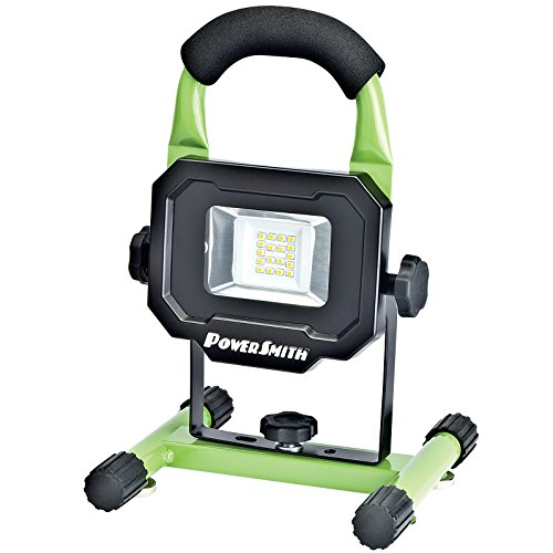 PowerSmith PWLR1110M Rechargeable 10W 900 Lumen Lithium Ion Battery Powered LED Work Light for Emergency, Camping, Boating, RV, Marine and Automotive use with Magnetic Base and Metal Lamp Housing and Stand