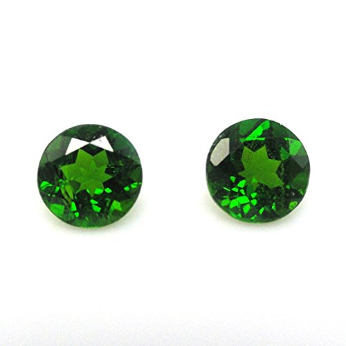 Natural Chrome Diopside 4mm Round 2 Pieces Faceted Cut Top Quality Green Color Loose Gemstone (Round Diopside)