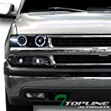 Topline Autopart Black Halo Led Projector Head Lights K2+Signal Bumper Yd 1999-2006 Silverado Tahoe