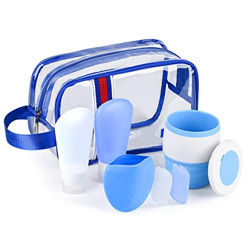 Silicone Travel Bottles and TSA Approved Toiletry Bag with Collapsible Coffee Travel Mug, Pocket Cup, Toothbrush Cover, Airplane Travel Accessories for Men Women AOENJIE (7 Pack)