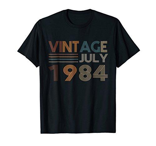Retro Vintage July 1984 T-Shirt 34th Birthday 34 Yrs Old - 1984 Black T-shirt