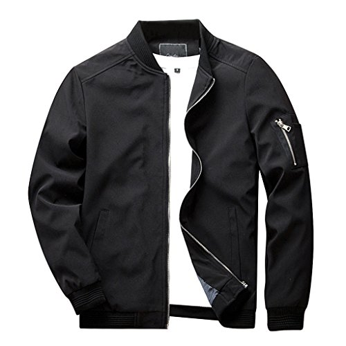 CRYSULLY Mens Autumn Casual Coat Cotton Sport Zip Outerwear Windproof Bomber Flight Jackets,Medium (Tag size 3XL),Black