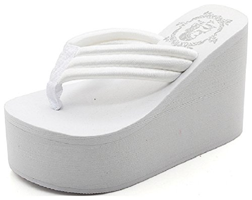 White High Wedge - Hanxue Womens Chunky High Platform Wedge Flip-flops Sandals White US8