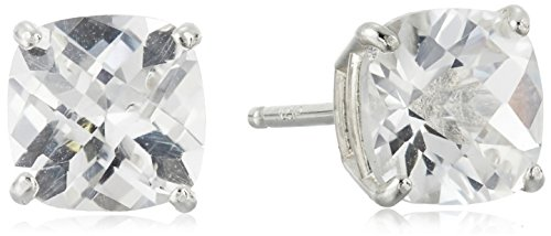 - Sterling Silver Cushion-Cut Checkerboard Created White Sapphire Stud Earrings (6mm)