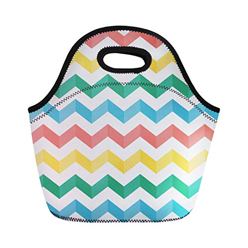- Semtomn Lunch Tote Bag Blue Zigzag Chevron Multicolored Stripes Shadow Sweater Table Products Reusable Neoprene Insulated Thermal Outdoor Picnic Lunchbox for Men Women