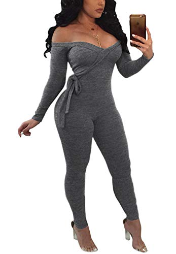 (Women Off Shoulder Jumpsuit - Sexy Long Sleeve Skinny Pants Suit Set Playsuit Fall Club Outfits Grey XL)