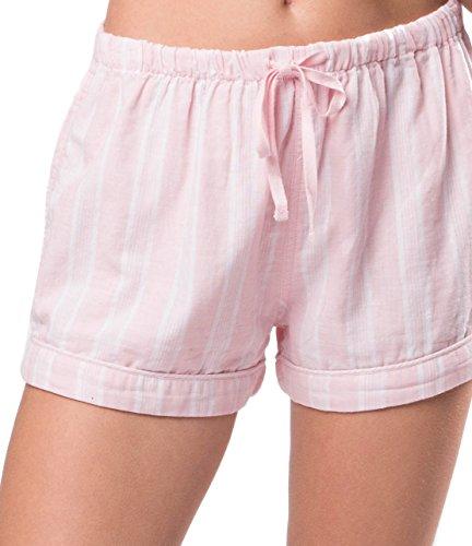 Cotton Pinstripe Shorts (Naked Women's Double Gauze Cotton Striped Pajama Shorts, Belair Blush Pin Stripe, Small)