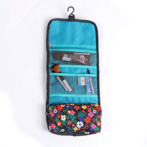 Storage Bag - Special Offer Hanging Travel Toiletry Organizer Cosmetic Makeup Storage Bag Floral With Zipper - Under Slider Laptop Queen Spectra Roll Small Kids Machine Size Full Blue Pouch (King Size Mattress Bag Moving)