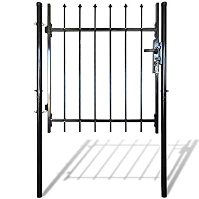 "HomeDecor Garden Gate Fence Gate Single Swing Steel with Spear Top, 3' 3"" x 3' 3"", Black"