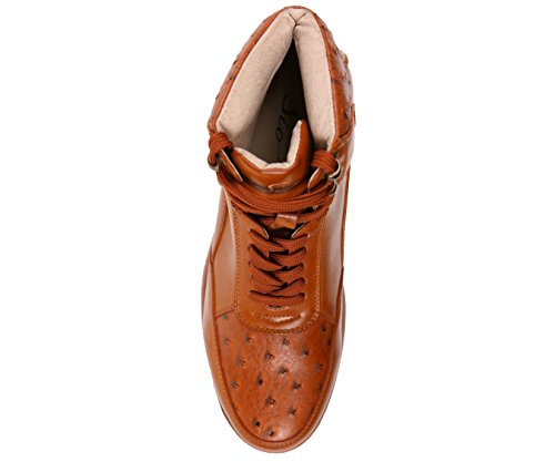 Sio Mens Esotico Struzzo Quill Stampato Casual Lace Up Avvio Sportivo Ispirato Sneaker, Stile Troy Cognac