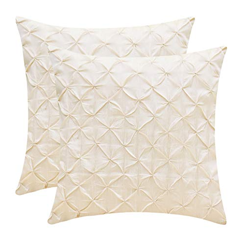 Floor Ivory Pillow - The White Petals Cream Cushion Covers (Faux Silk, Pinch Pleat, 12x12 inch, Pack of 2)