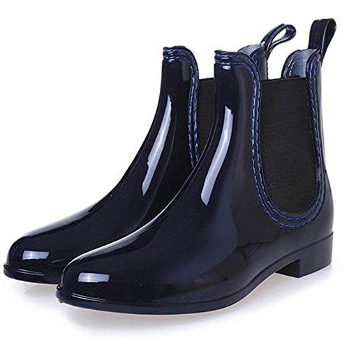 Caviglia Scarponcini Donna Alla Gomma Sgoodshoes Stivali Impermeabile Pioggia Bassi Blu In 0Rnw78Uq