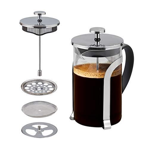 Relaxdays Cafetera Émbolo, Prensa Francesa, Café, Acero Inoxidable y Cristal, 1 Ud., 800 ml, Transparente y Plateado