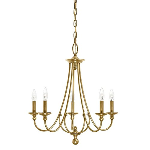 Chandelier 5 Light Candlestick (Kichler Lighting Camella 21.77-in 5-Light Natural Brass Williamsburg Candle Chandelier)