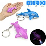Glumes Cute Dolphin Keychain with LED Flashlight and Sound Effects 3D Cute Cartoon Key Holder For Children Designer Key Ring for Kids Christmas Thanksgiving Gift 1 PCS (Bule)