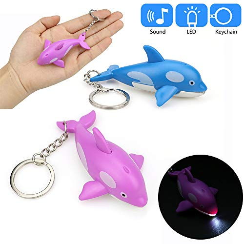 Dolphins Flash (Glumes Cute Dolphin Keychain with LED Flashlight and Sound Effects 3D Cute Cartoon Key Holder For Children Designer Key Ring for Kids Christmas Thanksgiving Gift 1 PCS (Bule))