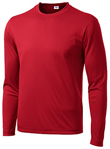 - Opna Men's Long Sleeve Moisture Wicking Athletic Shirts RED-M