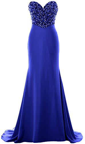 MACloth Women Strapless Long Prom Dress Crystals Formal Party Evening Gown Azul Real