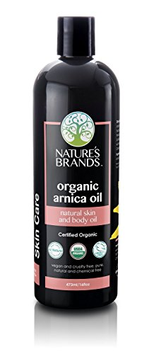 Organic Arnica Oil by Herbal Choice Mari; 16 fl oz BPA-Free Plastic Bottle; For Pain Relief, Arthritis, Back Muscle, Shoulder, Neck, Knee, Elbow, Neuropathy, Nerves, Massager, Relieves Inflammation