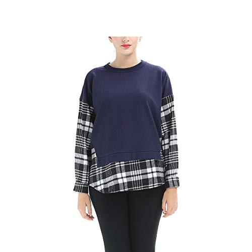 XXL Patchwork Shirt montr Manches Tunique Chemises Grand Chemise Taille Blouses Carreaux Longues FuweiEncore T Shirt Blouse Sweat Montr Tops Comme color T Mode pour Les Femmes comme faqSIS