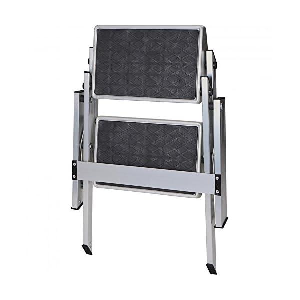 41MCHiMBj%2BL BERGER Doppeltrittstufe Aluminium klappbar, Silber/schwarz, bis 150 kg Belastbar, Klapptritt, Trittstufe