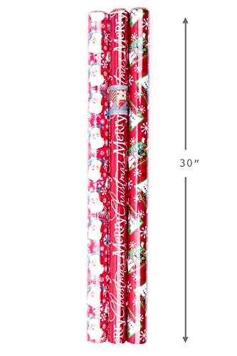 Hallmark Christmas Reversible Wrapping Paper (Santa, 3 Pack)
