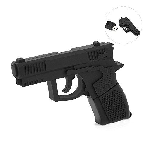 Usbkingdom 32GB USB 2.0 Flash Drive Cartoon Black Plastic Gun Shape Memory Stick Pen Thumb Drives Memorias USB Flash Disk
